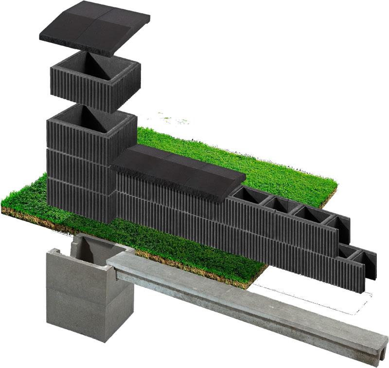 Putak ryflowany - elementy ogrodzenia